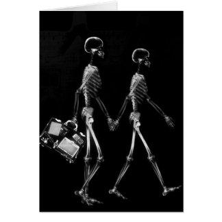 X-Ray Skeleton Couple Traveling Black White Greeting Card