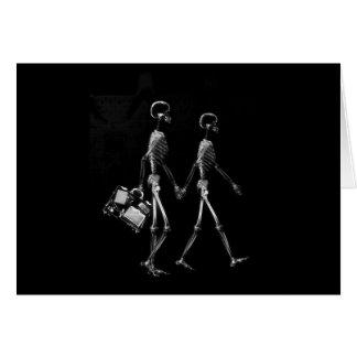 X-Ray Skeleton Couple Travelling Black White Greeting Card