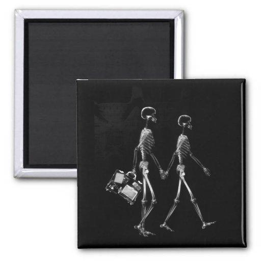X-Ray Skeleton Couple Travelling Black White Refrigerator Magnets