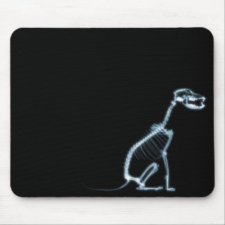 X-RAY SKELETON DOG SITTING - BLUE & BLACK MOUSE MAT