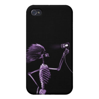 X-RAY SKELETON HAIR STYLING - PURPLE iPhone 4/4S COVERS