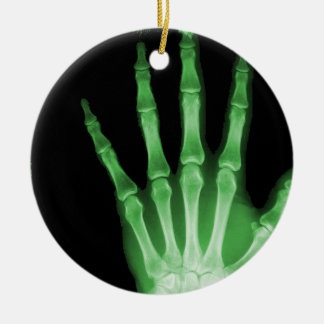 X-RAY SKELETON HAND FINGERS GREEN CHRISTMAS ORNAMENT