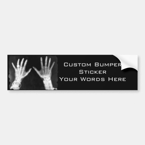 X-Ray Skeleton Hands & Jewelry - B&W Bumper Stickers