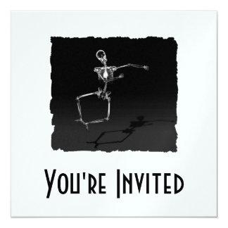 X-RAY SKELETON JOY LEAP B&W 13 CM X 13 CM SQUARE INVITATION CARD