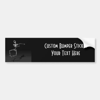 X-RAY SKELETON JOY LEAP B&W BUMPER STICKER