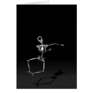 X-RAY SKELETON JOY LEAP B&W GREETING CARD