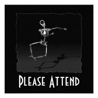 X-RAY SKELETON JOY LEAP B W CUSTOM INVITATION