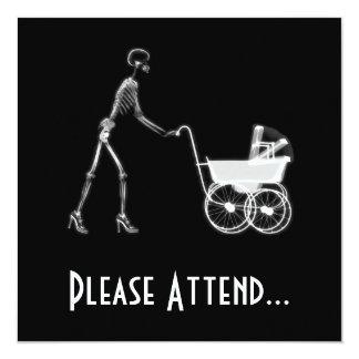 X-Ray Skeleton Mom & Baby - Original B&W 13 Cm X 13 Cm Square Invitation Card