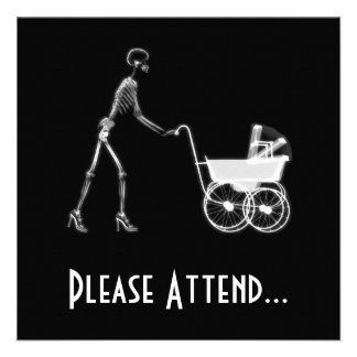 X-Ray Skeleton Mom & Baby - Original B&W Personalized Announcements