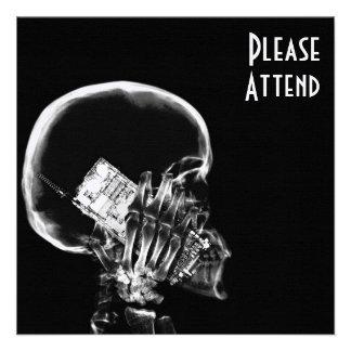 X-RAY SKELETON ON CELL PHONE BLACK & WHITE INVITATION