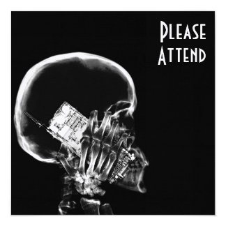 """X-RAY SKELETON ON CELL PHONE BLACK & WHITE 5.25"""" SQUARE INVITATION CARD"""