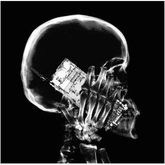 X-RAY SKELETON ON CELL PHONE BLACK & WHITE PHOTO SCULPTURE MAGNET