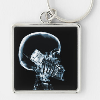 X-RAY SKELETON ON CELL PHONE BLUE KEY CHAIN