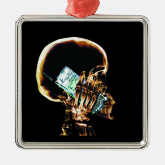 X-RAY SKELETON ON CELL PHONE CHRISTMAS ORNAMENT