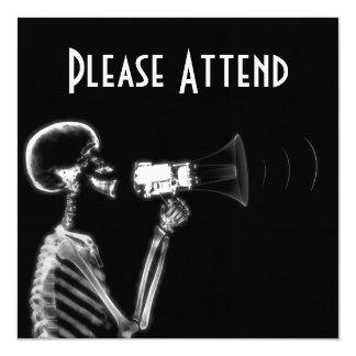 X-RAY SKELETON ON MEGAPHONE - B&W CARD