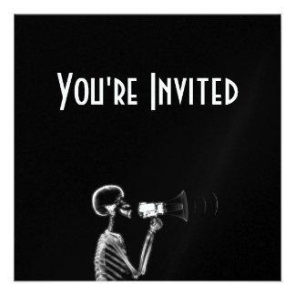 X-RAY SKELETON ON MEGAPHONE - B W INVITES