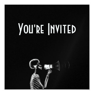 X-RAY SKELETON ON MEGAPHONE - B&W 5.25X5.25 SQUARE PAPER INVITATION CARD