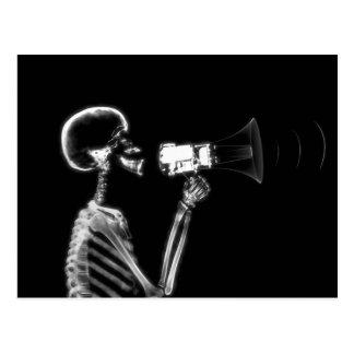 X-RAY SKELETON ON MEGAPHONE - B&W POSTCARD