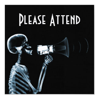 X-RAY SKELETON ON MEGAPHONE - BLUE 13 CM X 13 CM SQUARE INVITATION CARD