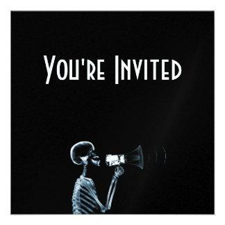 X-RAY SKELETON ON MEGAPHONE - BLUE CUSTOM INVITES