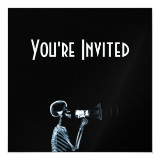 X-RAY SKELETON ON MEGAPHONE - BLUE 5.25X5.25 SQUARE PAPER INVITATION CARD