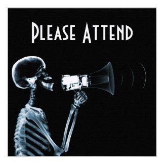 X-RAY SKELETON ON MEGAPHONE - BLUE CUSTOM INVITATION