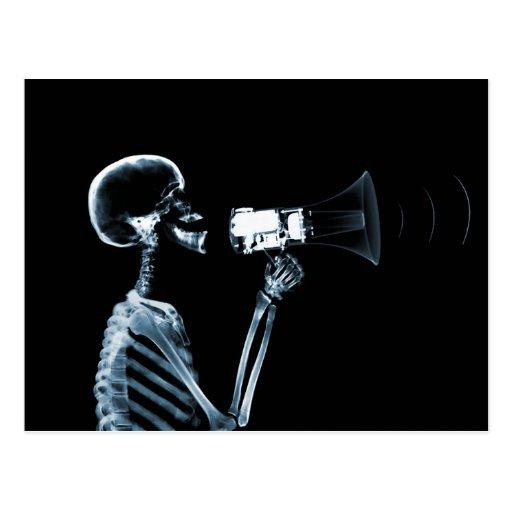 X-RAY SKELETON ON MEGAPHONE - BLUE POSTCARD