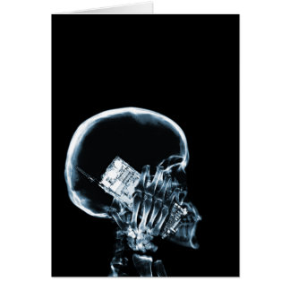 X-RAY SKELETON ON PHONE - BLUE CARD