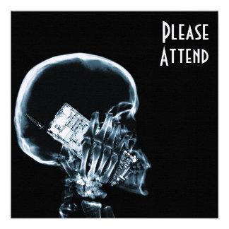 X-RAY SKELETON ON PHONE - BLUE CUSTOM INVITATIONS
