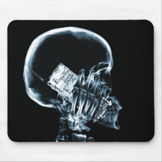 X-RAY SKELETON ON PHONE - BLUE MOUSE MAT