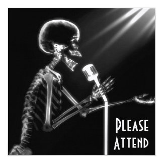 X-RAY SKELETON SINGING ON RETRO MIC - B&W 13 CM X 13 CM SQUARE INVITATION CARD