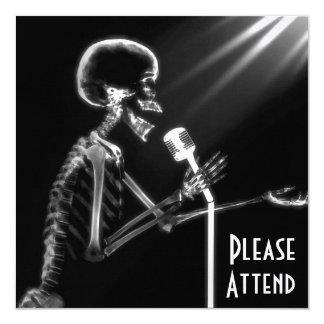 X-RAY SKELETON SINGING ON RETRO MIC - B&W CARD