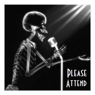 X-RAY SKELETON SINGING ON RETRO MIC - B W CUSTOM ANNOUNCEMENT