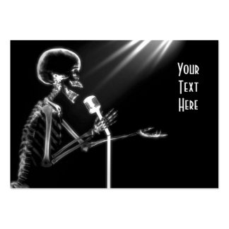 X-RAY SKELETON SINGING ON RETRO MIC - B&W PACK OF CHUBBY BUSINESS CARDS