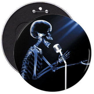 X-RAY SKELETON SINGING ON RETRO MIC - BLUE 6 CM ROUND BADGE