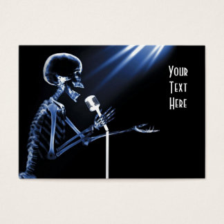 X-RAY SKELETON SINGING ON RETRO MIC - BLUE BUSINESS CARD