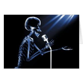 X-RAY SKELETON SINGING ON RETRO MIC - BLUE CARD