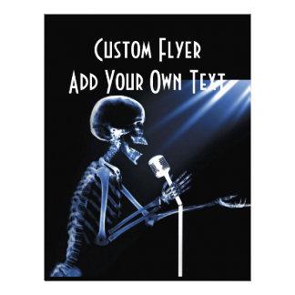 X-RAY SKELETON SINGING ON RETRO MIC - BLUE FLYER