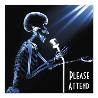 X-RAY SKELETON SINGING ON RETRO MIC - BLUE ANNOUNCEMENTS