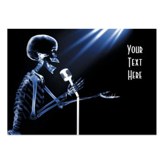 X-RAY SKELETON SINGING ON RETRO MIC - BLUE PACK OF CHUBBY BUSINESS CARDS