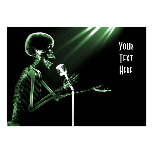 X-RAY SKELETON SINGING ON RETRO MIC - GREEN BUSINESS CARD TEMPLATES