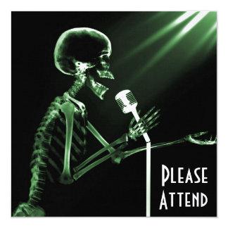X-RAY SKELETON SINGING ON RETRO MIC - GREEN CUSTOM ANNOUNCEMENT