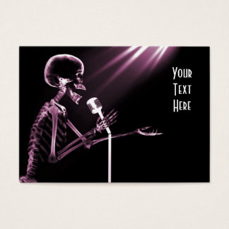 X-RAY SKELETON SINGING ON RETRO MIC - PINK BUSINESS CARD