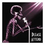 X-RAY SKELETON SINGING ON RETRO MIC - PINK 13 CM X 13 CM SQUARE INVITATION CARD