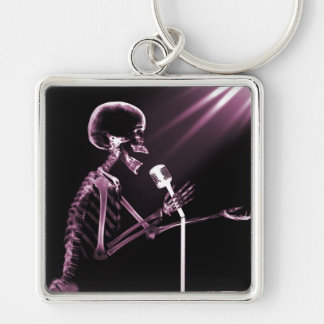 X-RAY SKELETON SINGING ON RETRO MIC - PINK Silver-Colored SQUARE KEY RING