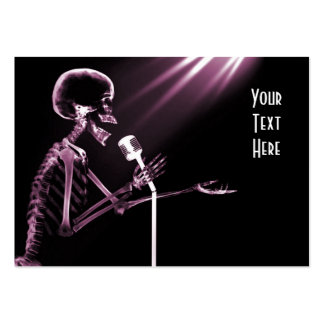 X-RAY SKELETON SINGING ON RETRO MIC - PINK PACK OF CHUBBY BUSINESS CARDS