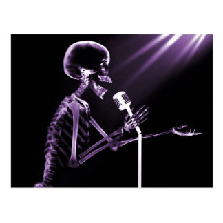 X-RAY SKELETON SINGING ON RETRO MIC - PURPLE POSTCARD