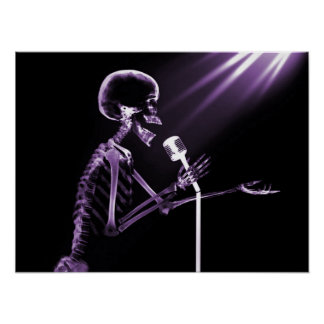 X-RAY SKELETON SINGING ON RETRO MIC - PURPLE POSTER