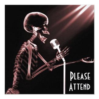 X-RAY SKELETON SINGING ON RETRO MIC - RED 13 CM X 13 CM SQUARE INVITATION CARD