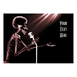 X-RAY SKELETON SINGING ON RETRO MIC - RED PACK OF CHUBBY BUSINESS CARDS